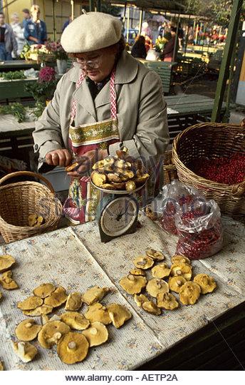 Estonia Tallin female mushroom vendor open market - Stock Image