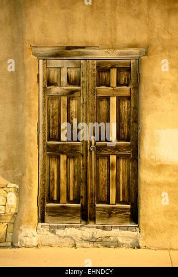 Wooden door, Santa Fe, New Mexico USA - Stock Image