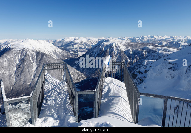 Five Fingers viewing platform, overlooking the World Heritage view from Krippenstein Mountain over Sarstein Mountain - Stock Image