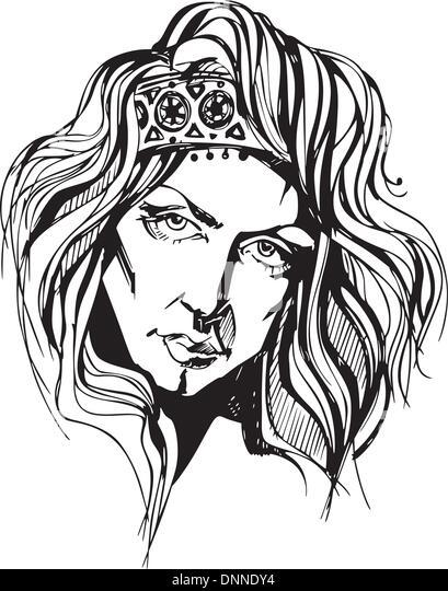 Gorgeous woman portrait. Black and white vector illustration. - Stock-Bilder