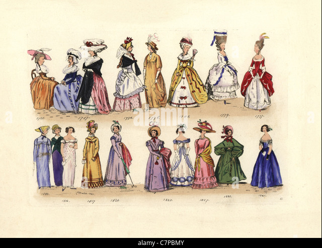 Women's fashion from 1786 to 1841, reigns of George III to Victoria, from Pocket Books, Ladies' Magazines, - Stock Image