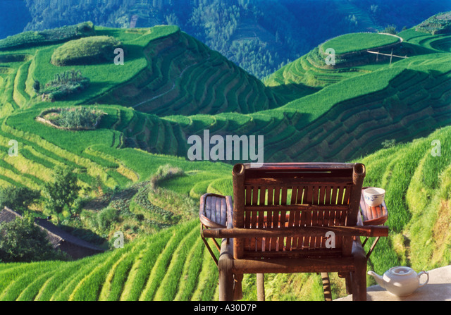 A bamboo chair overlooking terraced rice paddies in the mountain Longsheng Guangxi Province China - Stock Image