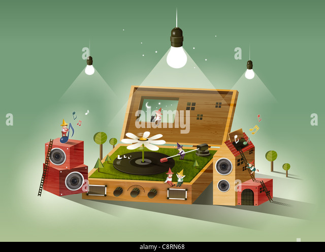 Records Lying On Floor With Stereo System - Stock-Bilder