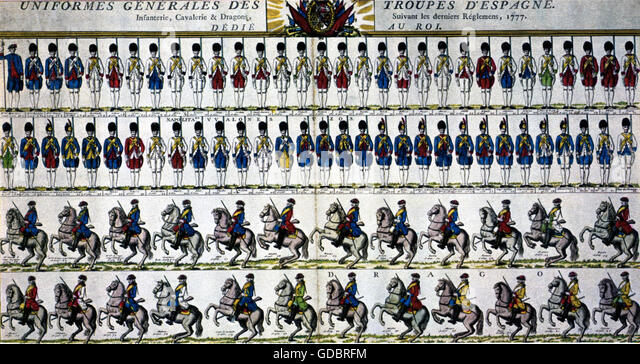 military, Spain, Spanish uniforms of 1777, print after coloured copper engraving, - Stock Image