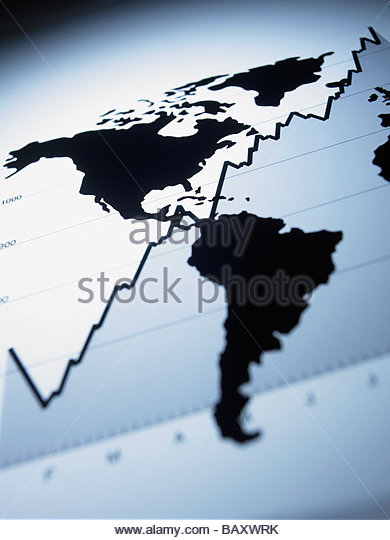 World map on ascending line graph - Stock Image