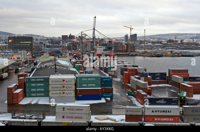 The container harbor of Oslo - Stock Image