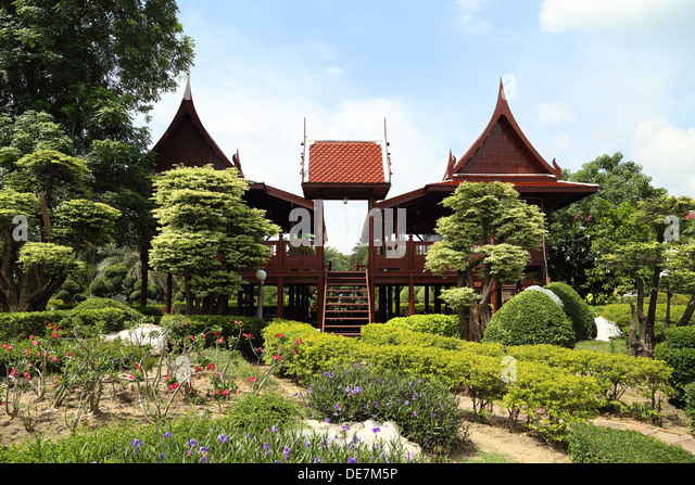 Thai style wooden house stock photos thai style wooden for Thai classic house