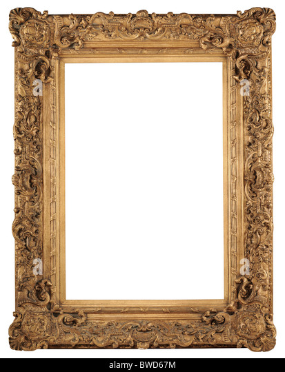 Golden vintage frame isolated over white background - With clipping path - Stock-Bilder