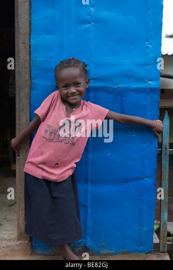 Bashful Girl, Ambodifototra, Nosy St. Marie, Madagascar, Africa - Stock Image
