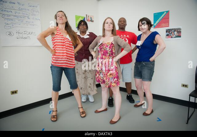 Manhattan, New York, USA. 17th July, 2013. Teachers Abigail Mason, Donna Costello, Glenna Modeste, Leo Singelton - Stock Image