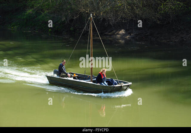 Boating on the River Wye near Tintern, Monmouthshire, Wales, UK - Stock Image