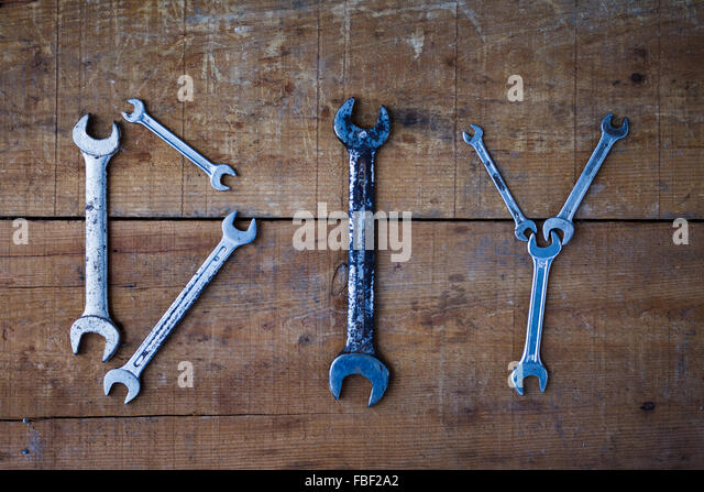Diy Made From Spanners On Wooden Table - Stock Image