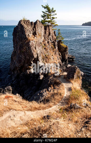 Rocky Coastline on Creyke Point Trail - East Sooke Regional Park, Sooke, Vancouver Island, British Columbia, Canada - Stock Image