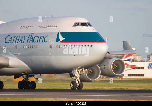Close-up of Cathay Pacific Airways Boeing 747-467 at London Heathrow Airport England UK - Stock Image