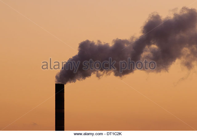 Fernandina Beach Florida USA thick plume of smoke coal fueled power plant - Stock Image