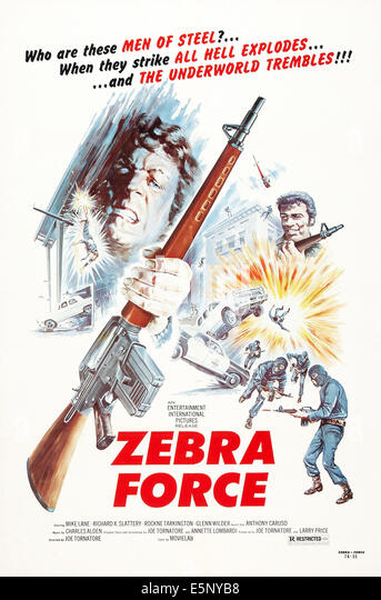 ZEBRA FORCE, US poster art, 1976 - Stock Image