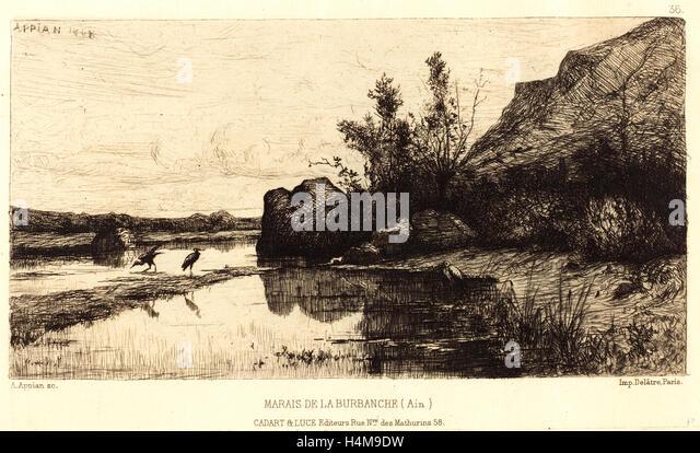 Adolphe Appian, French (1818-1898), Marais de la Burbanche, etching - Stock-Bilder