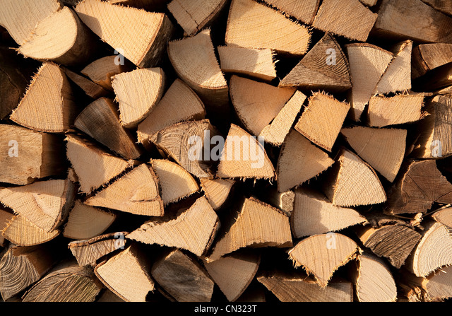 Stack of chopped wood - Stock Image