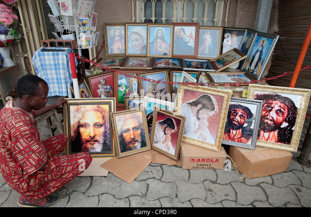 Religious shop, Cotonou, Benin, West Africa, Africa - Stock-Bilder