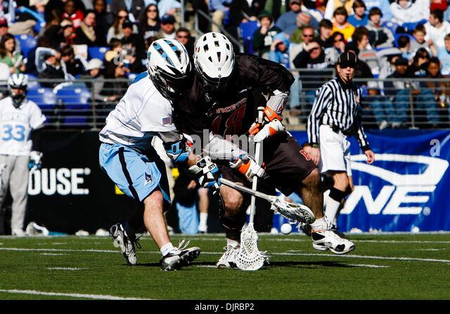 Mar. 06, 2010 - Baltimore, Maryland, U.S - 06 March 2010: Hopkins Midfield Matt Dolente #4 and Princeton Midfield - Stock Image
