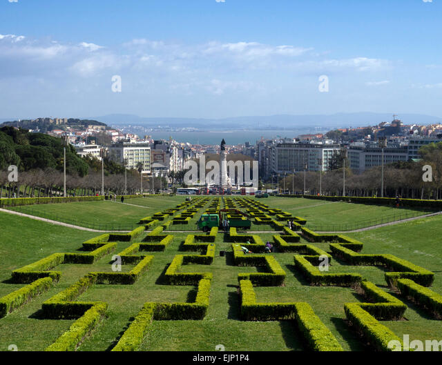 The city of Lisbon, Portugal, over the River Tagus from Parque Eduardo VII - Stock Image
