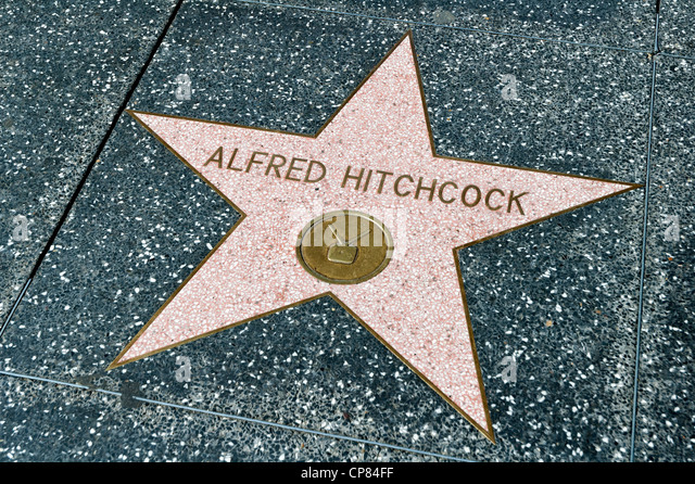 Alfred Hitchcock star on the Walk of Fame, Hollywood Boulevard, Los Angeles, California, USA - Stock Image