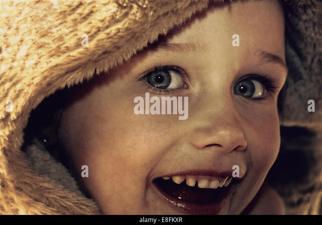 Close-up of laughing girl - Stock Image