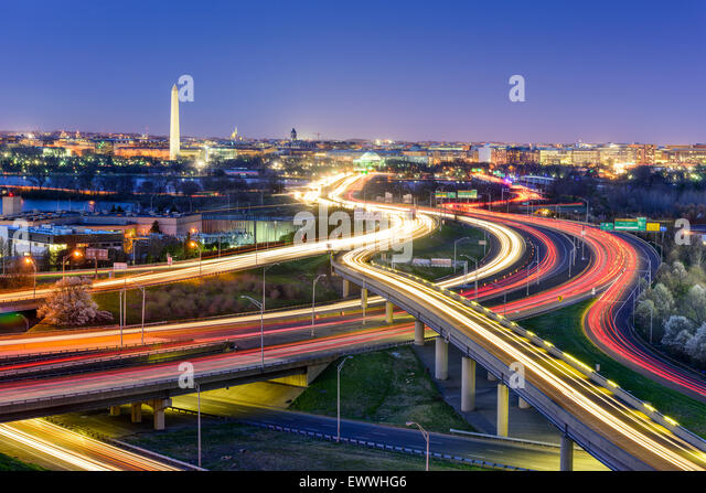 Washington, DC, USA  skyline at night. - Stock Image