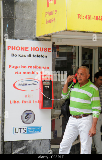 Curaçao Netherlands Antilles Dutch Willemstad Punda Heerenstraat Phone House business UTS telecom provider - Stock Image