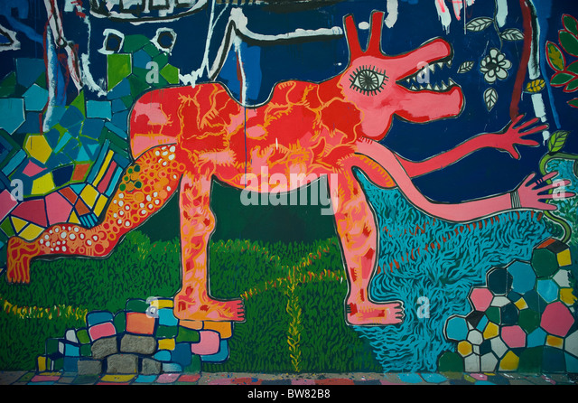Colorful abstract wall painting. Quito, Ecuador - Stock Image