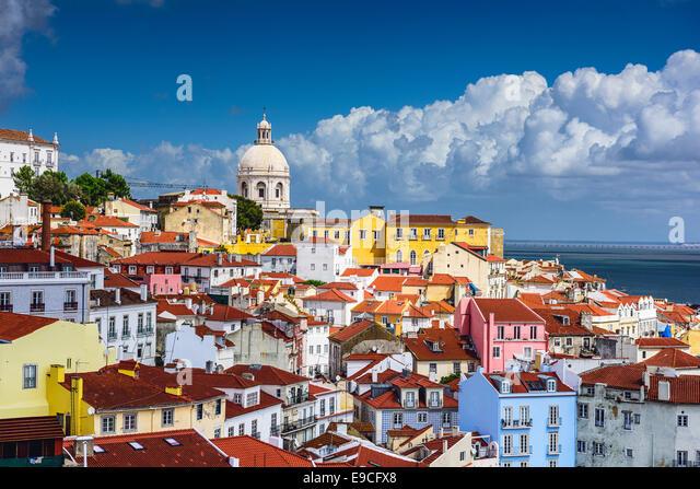 Lisbon, Portugal skyline at Alfama, the oldest district of the city. - Stock-Bilder