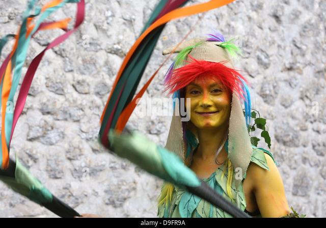 Costume parade at the medieval festival of Provins, UNESCO World Heritage Site, Seine-et-Marne, Ile-de-France, France - Stock Image