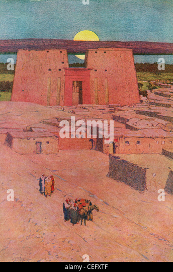 "Plate 11, ""The Great Pylon of Edfu,"" Egypt, by Jules Guerin, 1920, J. H. Jansen, Cleveland, Publisher. - Stock Image"