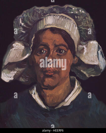 Head of a Woman Wearing a White Cap, by Vincent van Gogh, 1884, Kroller-Muller Museum, Hoge Veluwe National Park, - Stock Image