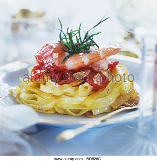 Noodles with shrimps - Stock Image
