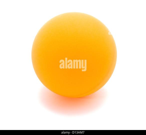 Table tennis orange ball isolated on white - Stock Image