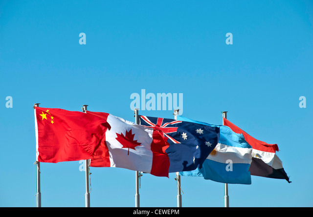 Commonwealth flags flying Egypt, El Alamein World War 2 Commonwealth Cemetery - Stock Image