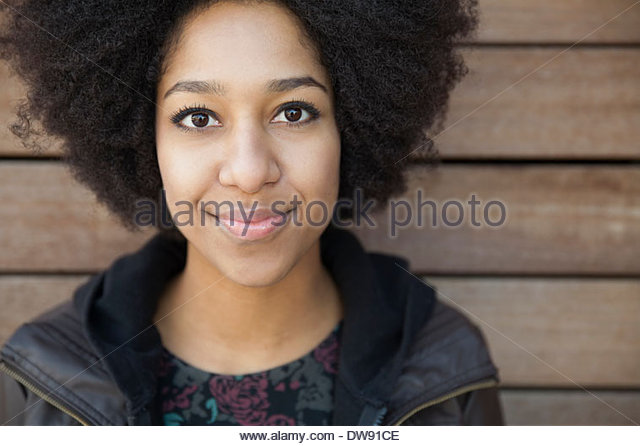 Portrait of confident woman smiling - Stock-Bilder