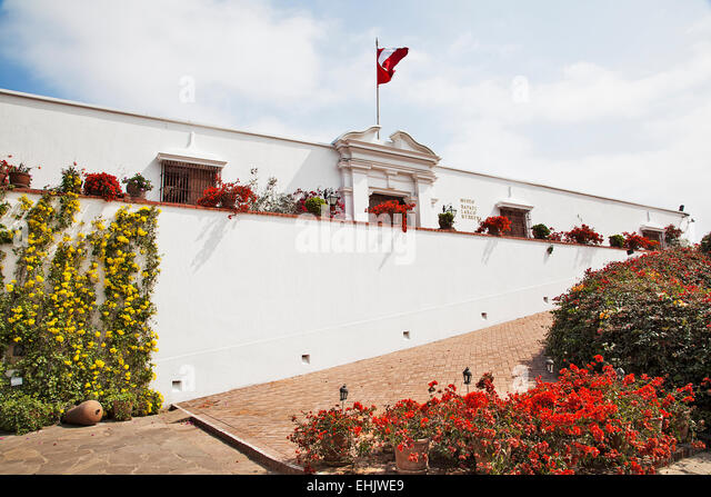 The Museo Larco is named after Rafael Larco Hererra who assembled the vast collection of pre-Columbian art seen - Stock Image