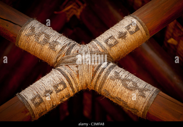 Detail of traditional architecture at the lodge of  Five Star Likuliku Lagoon Resort, Mololo Island, Mamanucas, - Stock Image