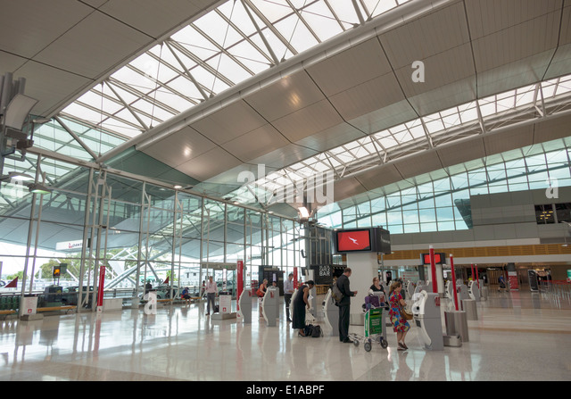 Australia NSW New South Wales Sydney Kingsford-Smith Airport SYD terminal concourse inside interior design architectural - Stock Image