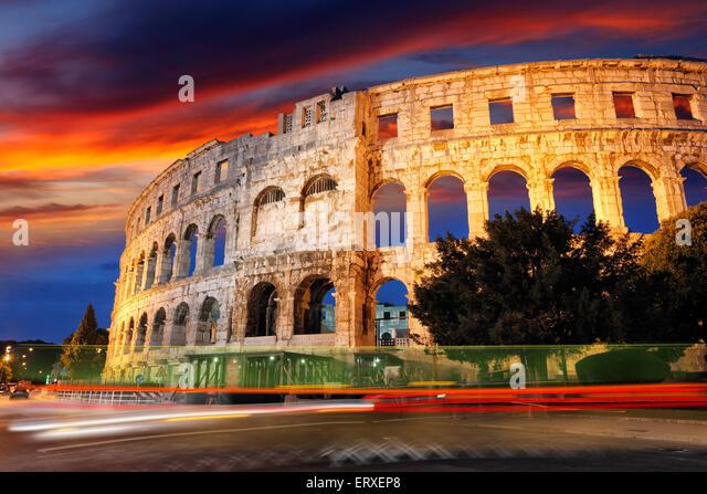 Pula Amphitheater, Arena - Croatia - Istria - Stock Image