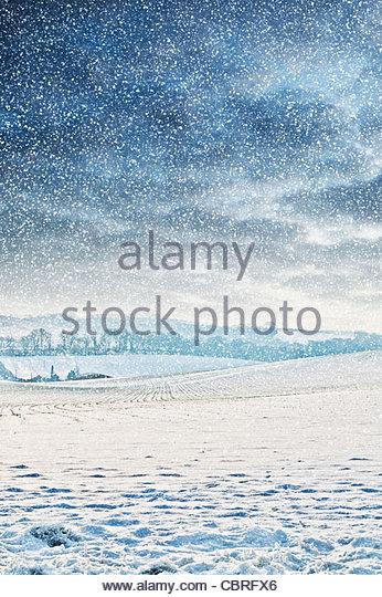 countryside snow - Stock Image