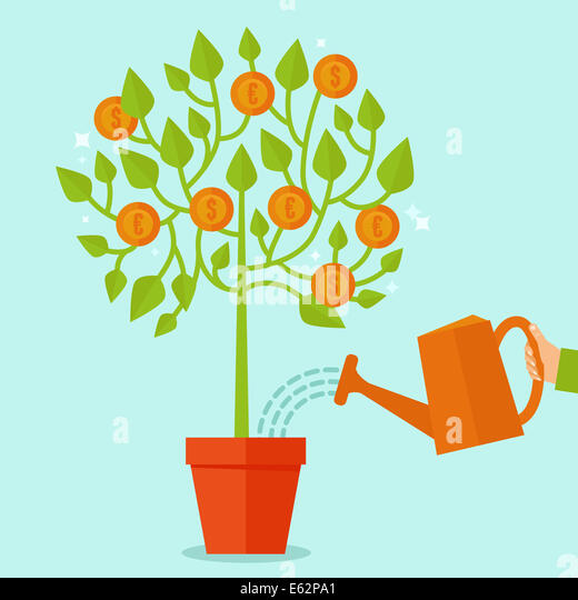 Money tree concept in flat style - green plant with coins on the branches - investment concept - Stock-Bilder