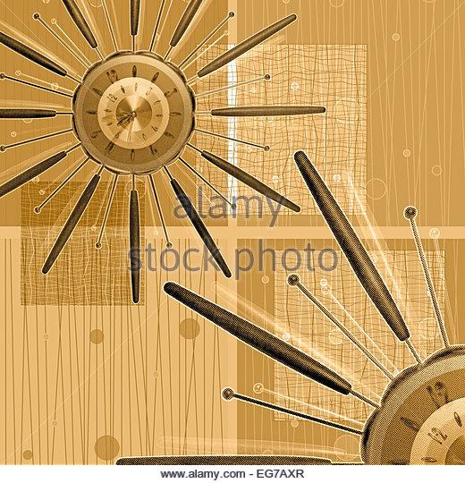 Star burst clock retro photo illustration - Stock-Bilder