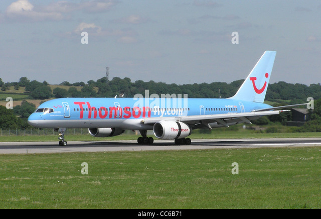 Thomsonfly Boeing 757-200 taxiing at Bristol International Airport, Bristol, England. - Stock Image