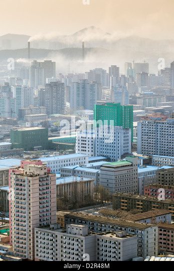 City skyline and pollution from coal fired power plants, Pyongyang, North Korea - Stock Image