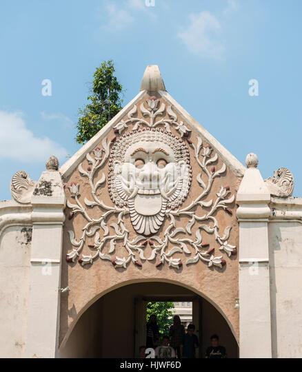 Relief of a grimace of an archway, moated castle, Water Castle Taman Sari, Kraton, Daerah Istimewa Yogyakarta, Java - Stock Image
