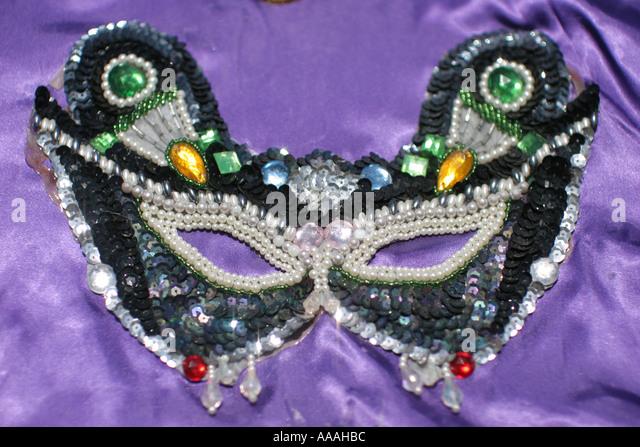 Florida, Zydeco Festival, Cajun, Mardi Gras mask, - Stock Image