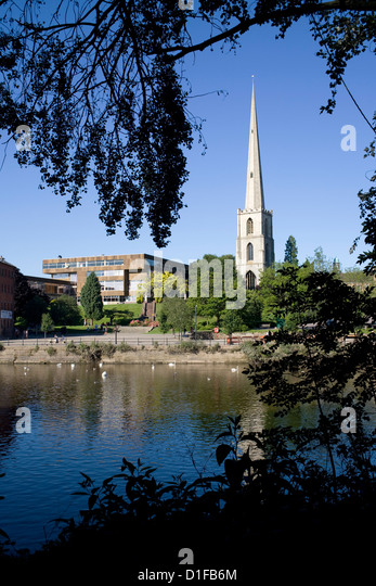 South Quay with College of Technology and Glovers Needle, Worcester, Worcestershire, England, United Kingdom, Europe - Stock Image